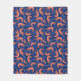 Shrimp Prawn Coral Ocean Bubble Nautical Navy Blue Fleece Blanket