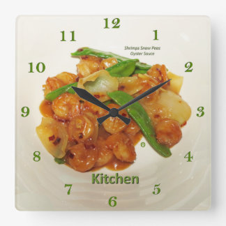 Shrimps Snow Peas Oyster Sauce, Square Wall Clock
