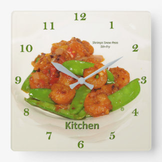 Shrimps Snow Peas Oyster Stir Fry Square Wall Clock