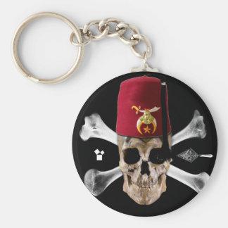 Shriner Masonic  Skull and Bones with Fez Key Ring