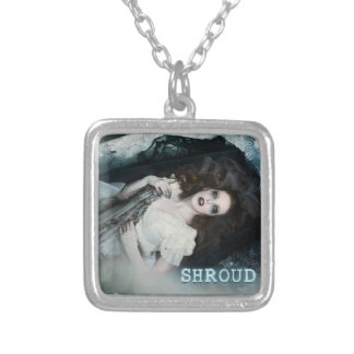 Shroud Small Silver Plated Square Necklace