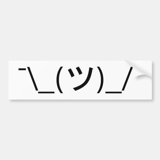 Shrug Emoticon Japanese Kaomoji Bumper Sticker
