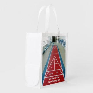 Shuffleboard on Board Custom Double Sided Reusable Grocery Bag