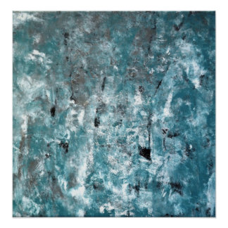 'Shuffling' Teal and Grey Abstract Art Poster
