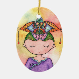 Shui'er, Princess of Water Double-Sided Oval Ceramic Christmas Ornament