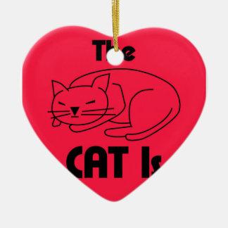 SHUSH! The Cat Is Sleeping Ceramic Heart Decoration
