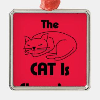 SHUSH! The Cat Is Sleeping Metal Ornament