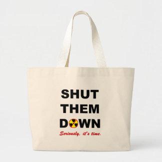 Shut Them Down Anti-Nuke Slogan Jumbo Tote Bag