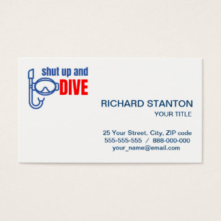 Shut up and dive business card