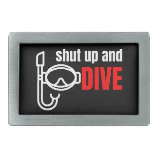 Shut up and dive rectangular belt buckles