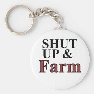 shut up and farm basic round button key ring