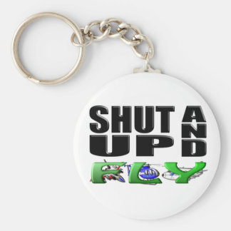 SHUT UP AND FLY (Aircraft) Basic Round Button Key Ring