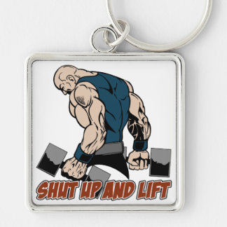 Shut Up and Lift Weightlifter Silver-Colored Square Key Ring