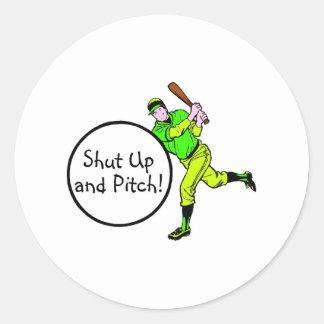 Shut Up And Pitch Baseball Round Sticker