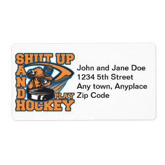 Shut Up and Play Hockey Shipping Label