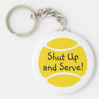 Shut Up And Serve Tennis Basic Round Button Key Ring