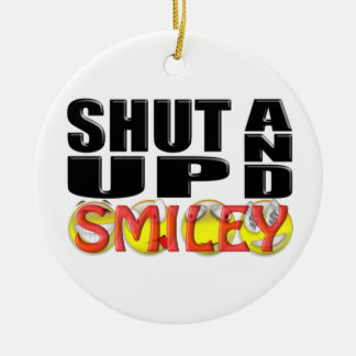 SHUT UP AND SMILEY (Faces) Round Ceramic Decoration