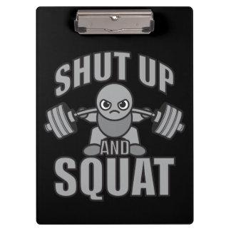 Shut Up And Squat - Cute Kawaii Weightlifter Clipboard