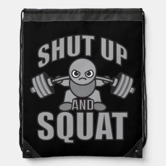 Shut Up And Squat - Cute Kawaii Weightlifter Drawstring Bag