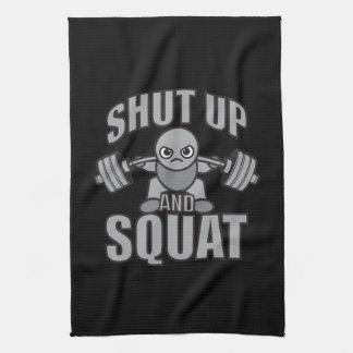 Shut Up And Squat - Cute Kawaii Weightlifter Tea Towel