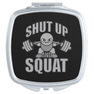 Shut Up And Squat - Cute Kawaii Weightlifter Travel Mirrors