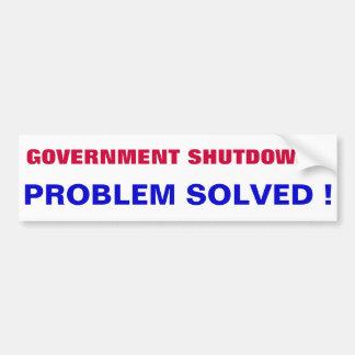 SHUTDOWN GOVERNMENT CAR BUMPER STICKER
