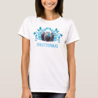 Shutterbug Camera With Blue Leaves And Butterflies T-Shirt