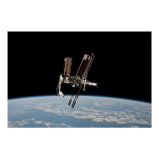Shuttle Docks With The International Space Station Poster