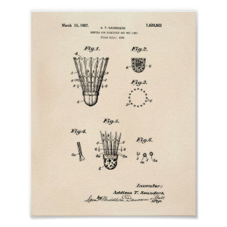 Shuttle For Badminton 1927 Patent Art Old Peper Poster