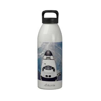 Shuttle Over Earth Water Bottle