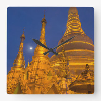 Shwedagon Pagoda at night, Myanmar Square Wall Clock