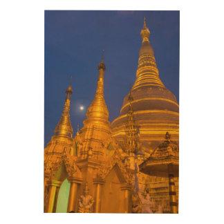 Shwedagon Pagoda at night, Myanmar Wood Canvas