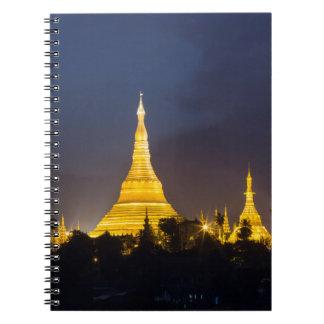 Shwedagon Pagoda At Night Spiral Notebook