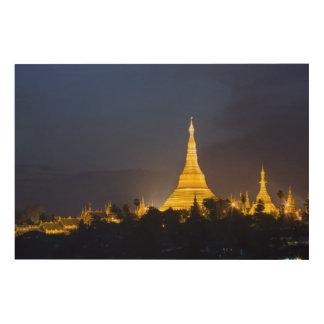 Shwedagon Pagoda At Night Wood Print