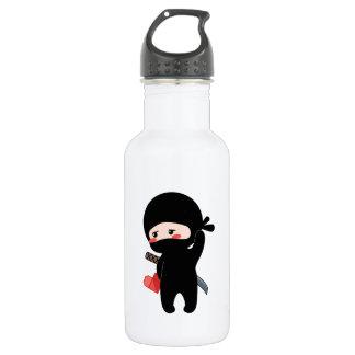 Shy Blushing Ninja Holding Origami Paper Heart 532 Ml Water Bottle