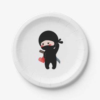 Shy Blushing Ninja Holding Origami Paper Heart Paper Plate