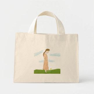 Shy Girl and Yellow Flower Tote Bag Mini Tote Bag