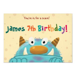 shy monster birthday invitation card