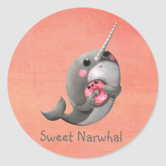 Shy Narwhal with Doughnut Classic Round Sticker