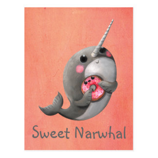 Shy Narwhal with Doughnut Postcard