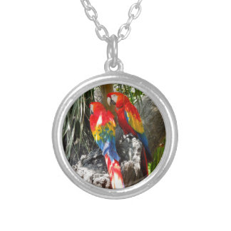 SHY PARROTS SILVER PLATED NECKLACE