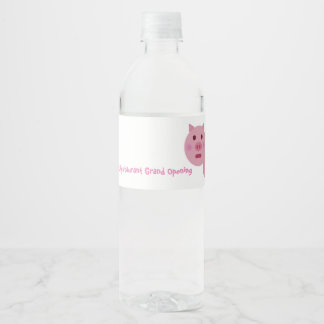 Shy Pink Pig Water Bottle Label