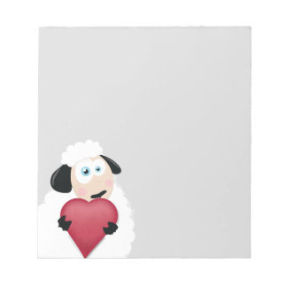 Shy Sheep holding Love Heart Notepad