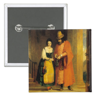 Shylock and Jessica from 'The Merchant of Venice', 15 Cm Square Badge