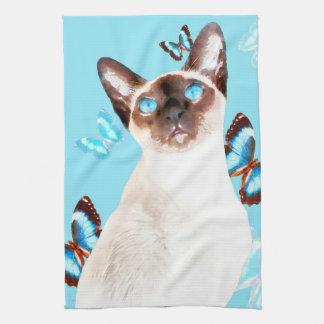 Siamese And Butterflies Tea Towel