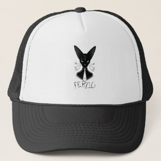 Siamese Black Cat Punk Trucker Hat