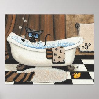 Siamese Bubble Bath Poster