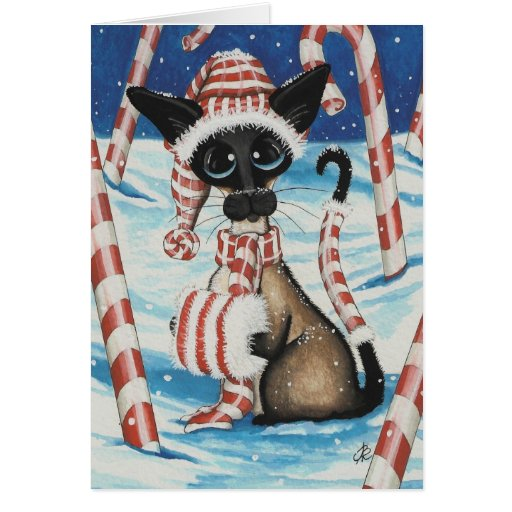Siamese Candy Cane Kitty Cards