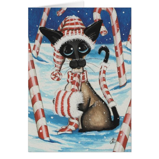 Siamese Candy Cane Kitty Greeting Card