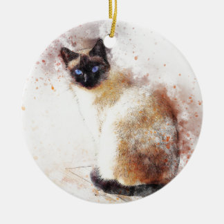 Siamese Cat Abstract Elements Ceramic Ornament